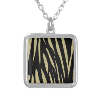 Tiger Stripes Print Wild Safari Design Silver Plated Necklace