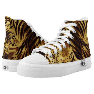 Tiger Stripes Safari Print, Zipz High Top Shoes