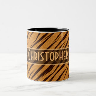Tiger Stripes Skin Pattern Personalize Two-Tone Coffee Mug