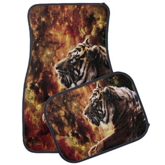 Tiger Stroll Through the Glittery Galaxy Ravine Car Mat