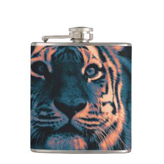 tiger,sunset hip flask