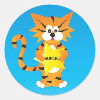 Tiger Super Star Teacher Round Sticker