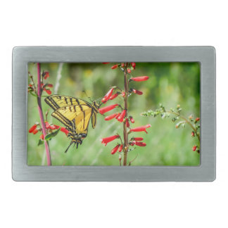 Tiger Swallowtail Butterfly and Wildflowers Belt Buckles