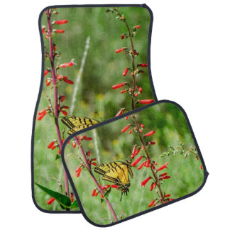 Tiger Swallowtail Butterfly and Wildflowers Car Mat