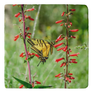 Tiger Swallowtail Butterfly and Wildflowers Trivet