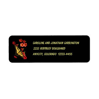 Tiger Swallowtail Butterfly on Red Flowers Return Address Label