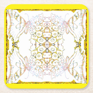 Tiger Swallowtail Mandala Square Paper Coaster
