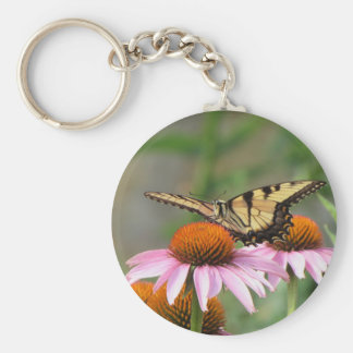Tiger Swallowtail on Purple Coneflower Keychain