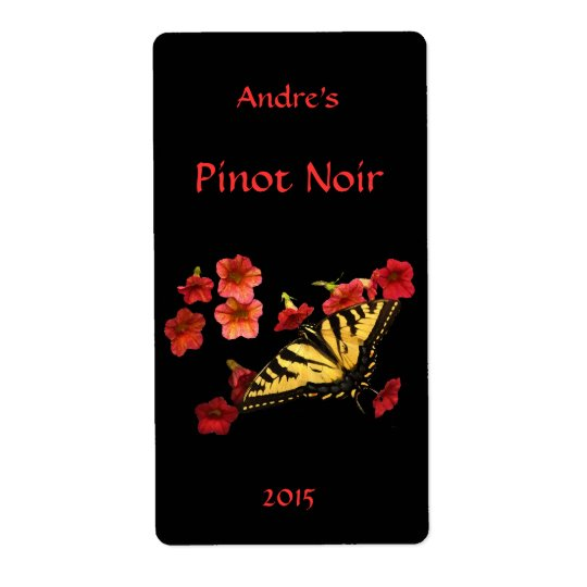 Tiger Swallowtail on Red Floral Wine Label Shipping Label