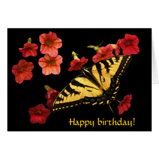 Tiger Swallowtail on Red Flowers Birthday Card