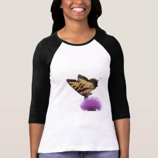 Tiger Swallowtail on Thistle 3/4 raglan sleeve tee