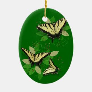 Tiger Swallowtails Ceramic Ornament