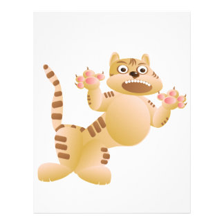 Tiger, the cat growls and threatens paws claws letterhead