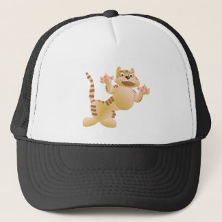 Tiger, the cat growls and threatens paws claws trucker hat