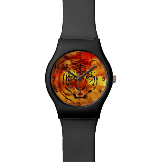Tiger through the sunrise wristwatch