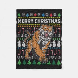 Tiger Ugly Christmas Sweater Wildlife Series Fleece Blanket