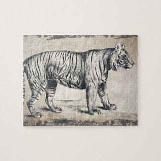 Tiger Vintage Wildlife Grunge Decorative Jigsaw Puzzle