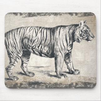Tiger Vintage Wildlife Grunge Decorative Mouse Pad