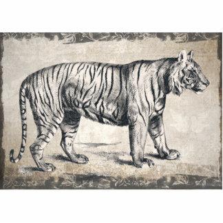 Tiger Vintage Wildlife Grunge Decorative Photo Sculpture Keychain