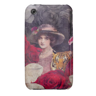 Tiger Vintage Woman Flowers iPhone 3 Cover