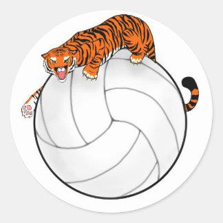 Tiger Volleyball Round Sticker