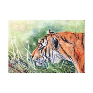 Tiger Walking through Jungle Canvas Print