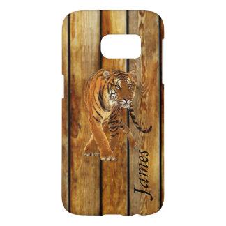 Tiger Walking & Vertical Wood Stripes Samsung Galaxy S7 Case
