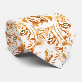 Tiger Watercolor Face Pattern Tie