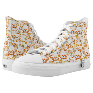 Tiger Watercolor Faces Pattern High Tops