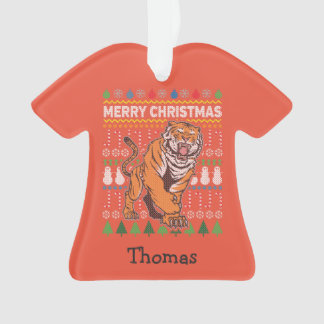 Tiger Wildlife Merry Christmas Ugly Sweater