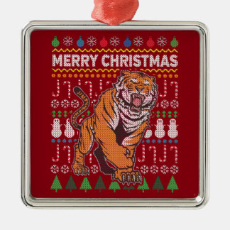 Tiger Wildlife Merry Christmas Ugly Sweater Silver-Colored Square Ornament