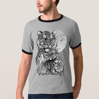 Tiger with Cub (B/W) Dark Ringer T-Shirt