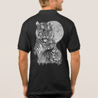 Tiger with Cub (B/W) Polo Shirt