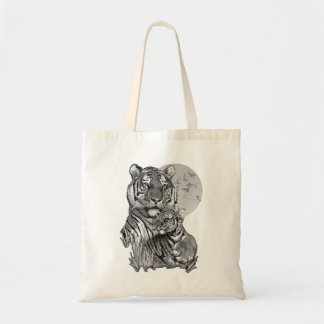 Tiger with Cub (B/W) Tote Bag