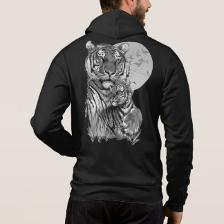 Tiger with Cub (B/W) Zip Hoodie