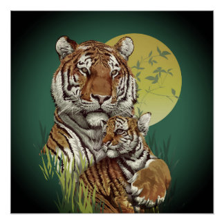 Tiger with Cub Poster