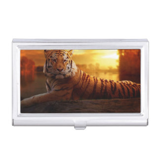 Tiger with Sunset Business Card Holder