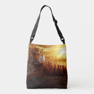 Tiger with Sunset Crossbody Bag