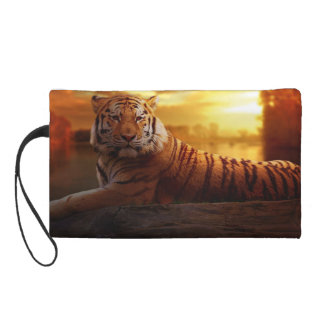 Tiger with Sunset Wristlet