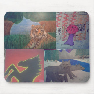 Tiger,  Wolves, horse,and girl walking in rain... Mouse Pad