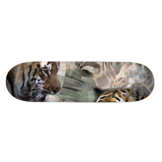 Tiger, Zebra, Giraffe Lovers Custom Skate Board