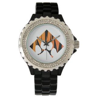 Tigerpaw Rhinestone Black Enamel Wrist Watch