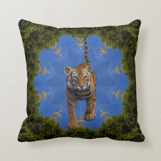 Tiger's Adventure. Throw Pillow