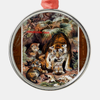 Tigers for Responsible Travel Silver-Colored Round Ornament