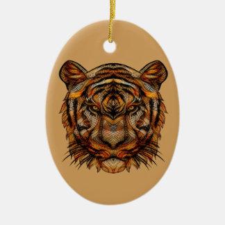 Tiger's Head 1a Ceramic Ornament