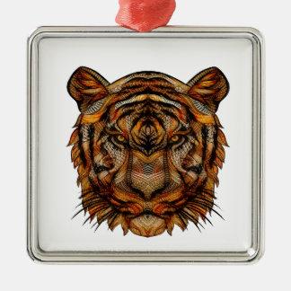 Tiger's Head 1a Metal Ornament