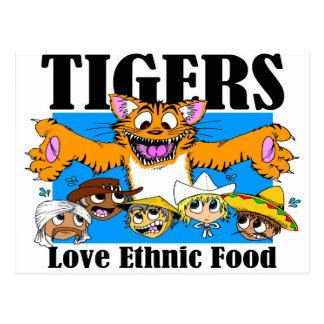 Tigers Love Ethnic Food Postcard