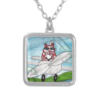 Tiger's Plane Silver Plated Necklace