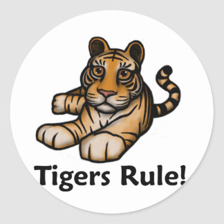 Tigers Rule! Classic Round Sticker