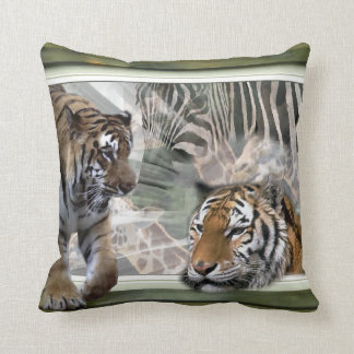 Tigers, Zebra,Giraffe, Primitive Jungle Throw Pillow